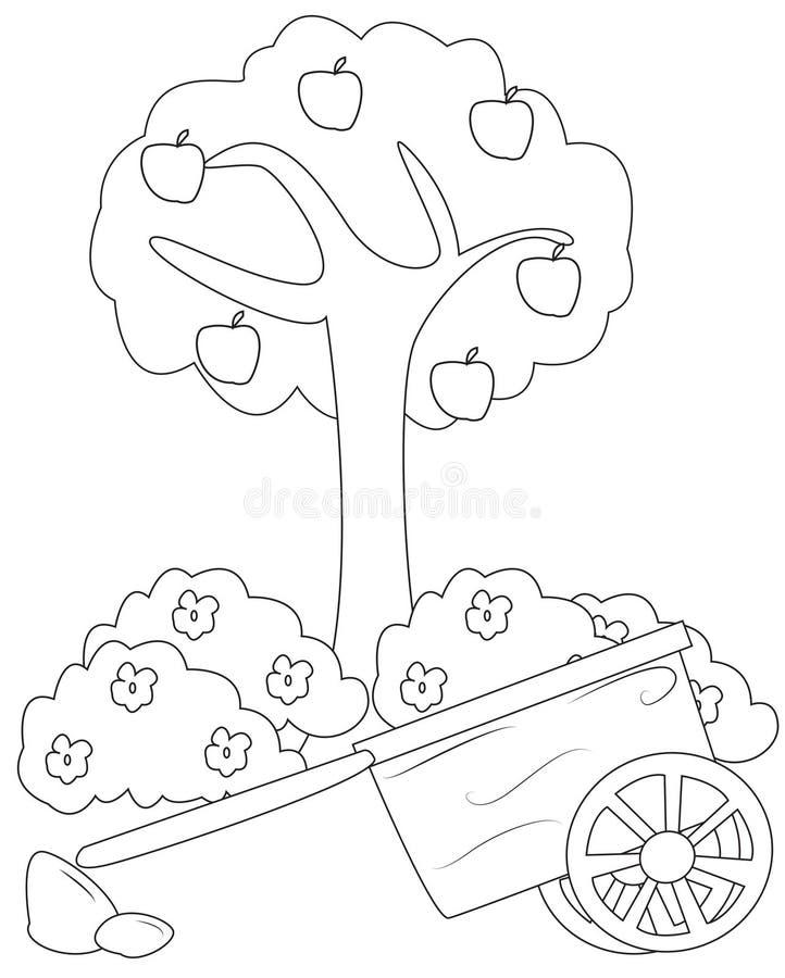 Apple-boom en een kar kleurende pagina royalty-vrije illustratie