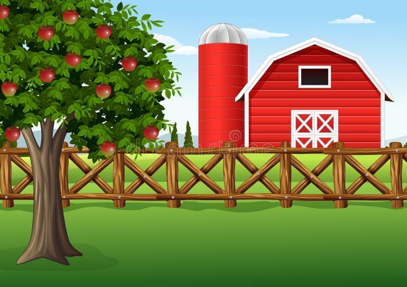 Apple-boom op het landbouwbedrijf vector illustratie