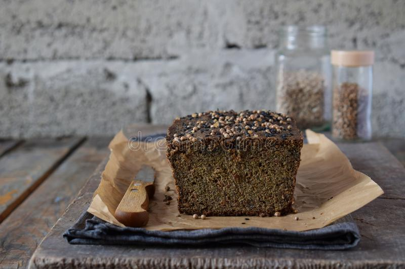 Apple bread loaf from sunflower seeds, chia and flax seeds. Homemade baking. Paleo diet. Organic healthy vegetarian food. Gluten f. Ree. Dairy free. Grain free stock image