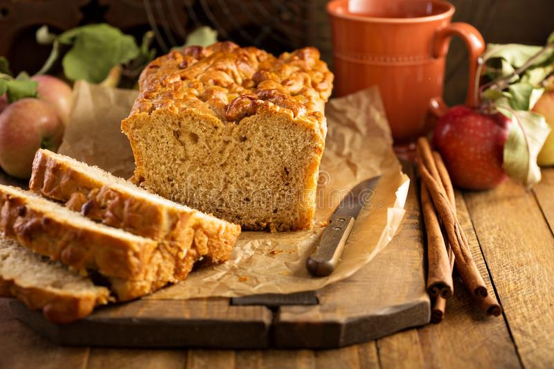 Apple bread rustic style. With freshy picked apples and cinnamon, fall baking concept stock photography