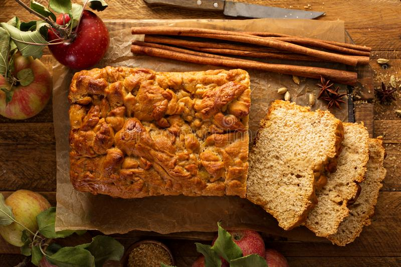 Apple bread rustic style. With freshy picked apples and cinnamon, fall baking concept overhead shot stock photos