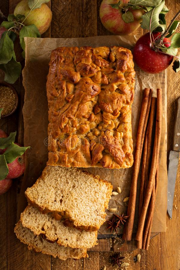Apple bread rustic style. With freshy picked apples and cinnamon, fall baking concept overhead shot stock photography