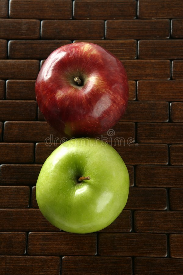 Download Apple On A Brown Tablecloth Stock Image - Image: 7616985