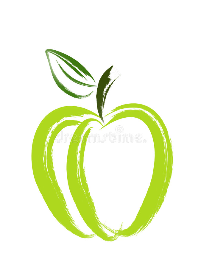 Apple Brush Art. An illustration of green apple made with paint brush vector illustration