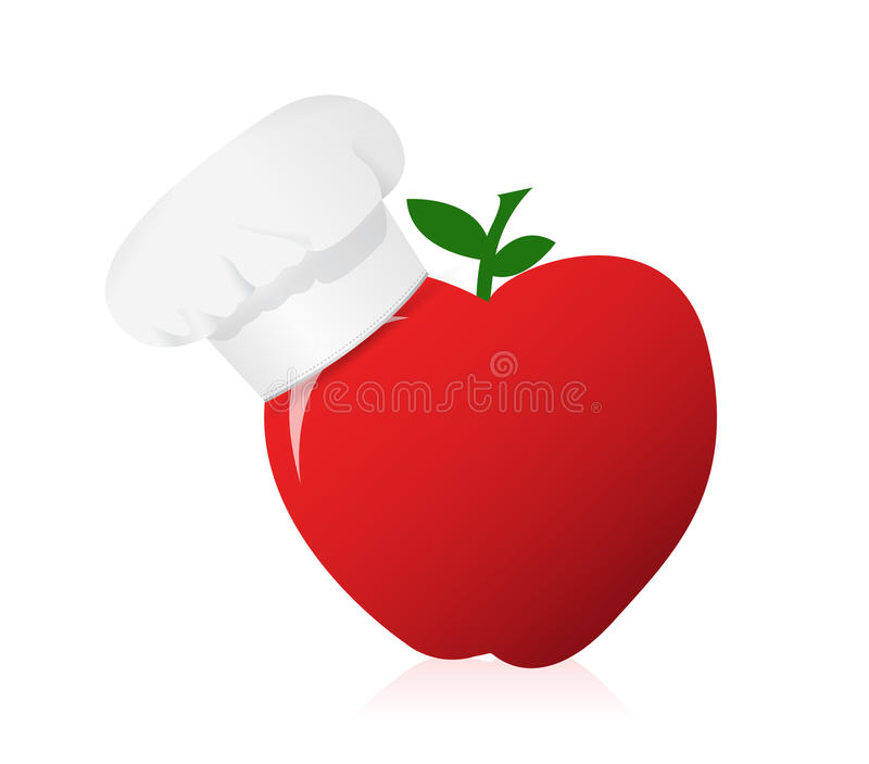 Apple być ubranym szefowie kuchni kapeluszowi. royalty ilustracja