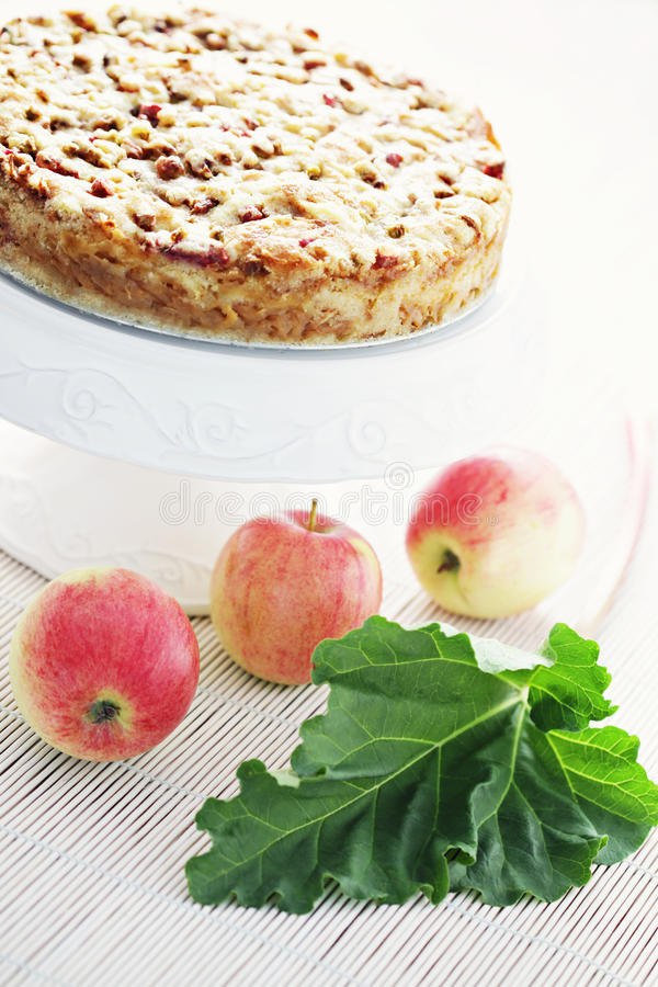 Apple-cake met rabarber stock foto