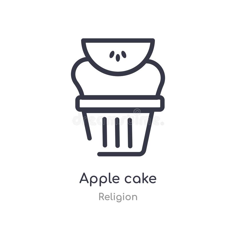 apple cake outline icon. isolated line vector illustration from religion collection. editable thin stroke apple cake icon on white royalty free illustration