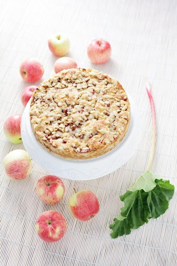 Apple cake with rhubarb stock photo