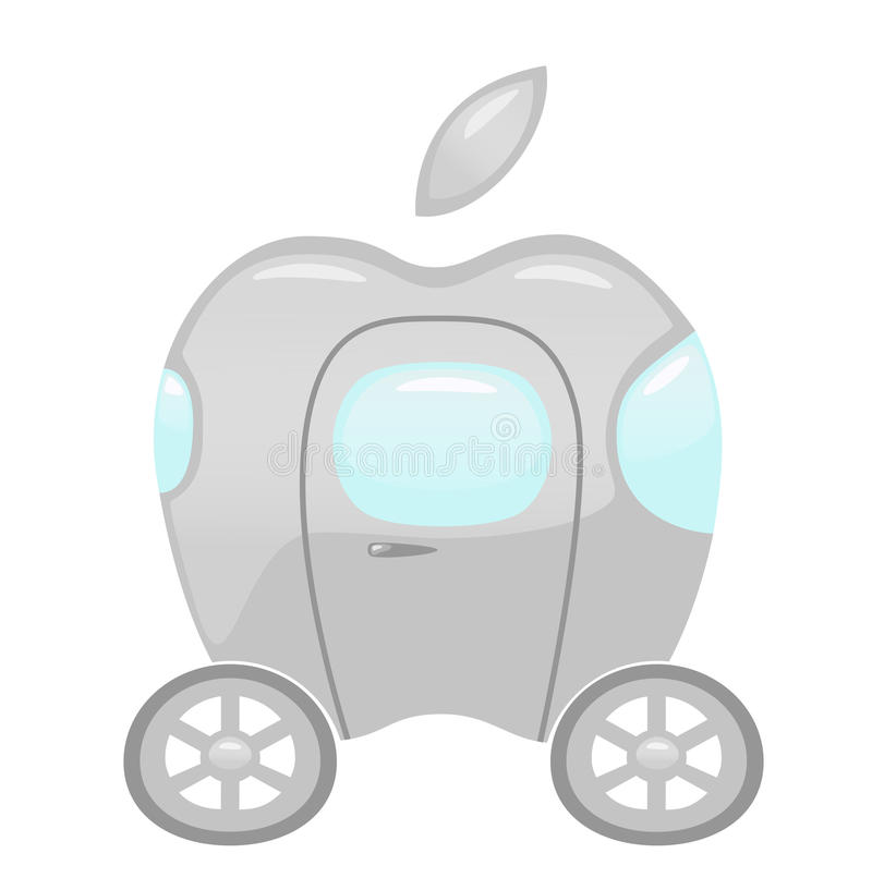 Apple car. NOVEMBER 16, 2016: A vector illustration of a car with `Apple` logotype, illustrative editorial
