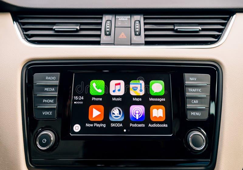 Apple CarPlay main screen of iPhone in car dashboard royalty free stock photo