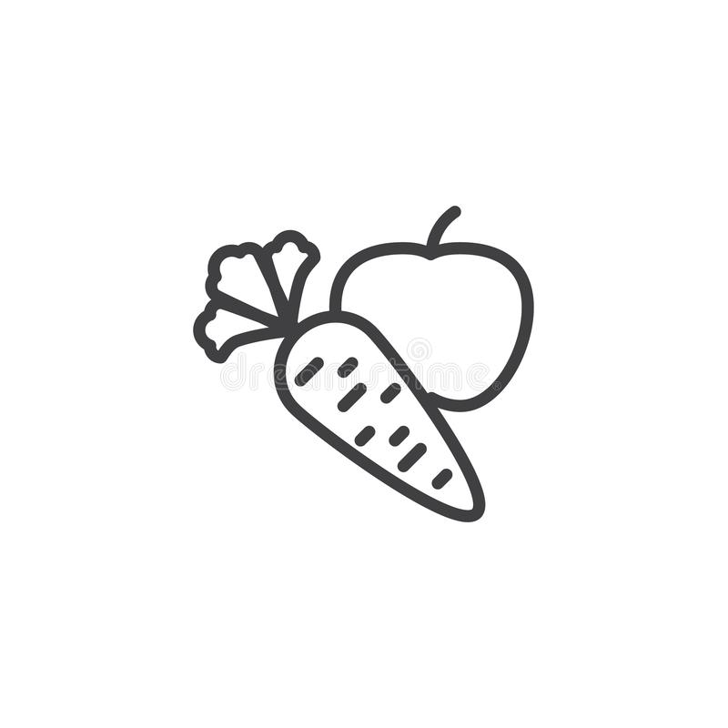 Apple with carrot line icon vector illustration