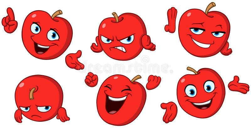 Apple cartoon set vector illustration