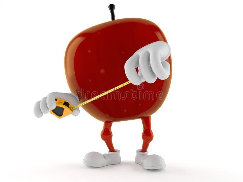 Apple character holding measuring tape vector illustration
