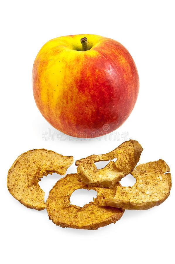 Apple with chips stock photo