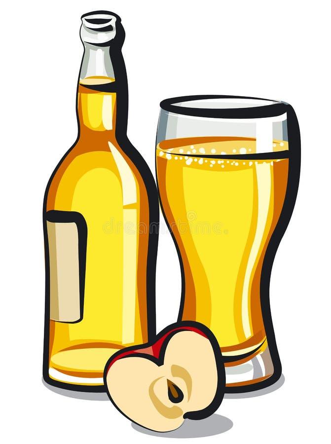 Apple cider bottle. Illustration of bottle of apple cider with glass royalty free illustration
