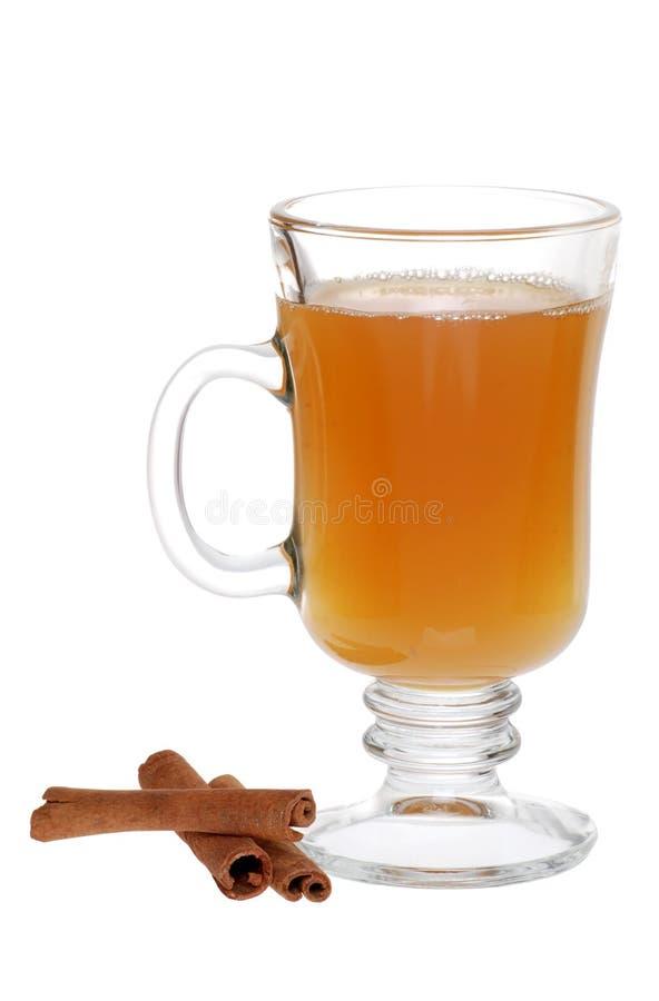 Apple Cider And Cinnamon Sticks. Isolated Apple Cider And Cinnamon Sticks on white background stock image