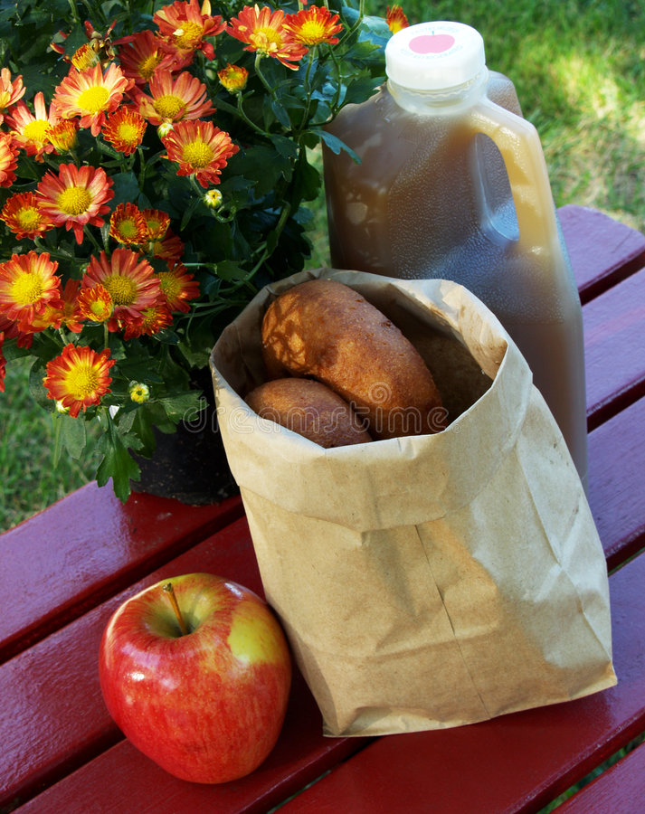 Apple cider and donuts stock image