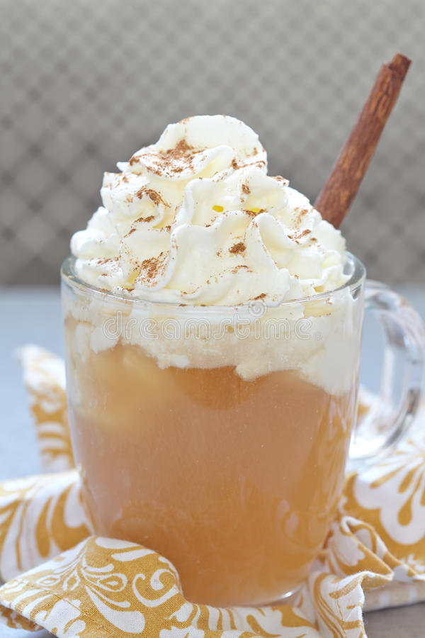 Apple cider float. With whipped cream and caramel sauce royalty free stock photos
