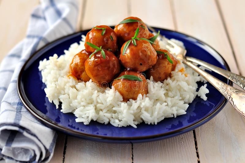 Apple Cider Glazed Chicken Meatballs royalty free stock images
