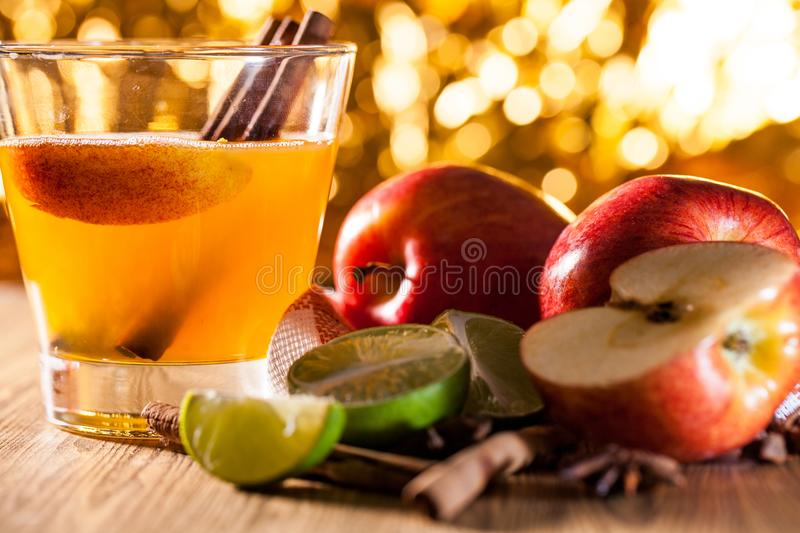 Apple cider with apple. Apple cider vinegar,Healthy drink royalty free stock photography