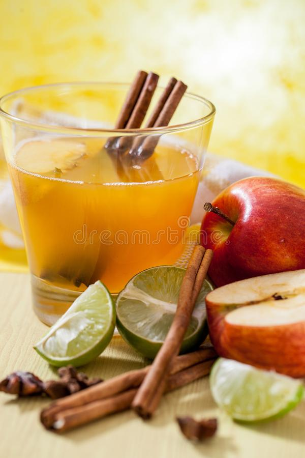 Apple cider with apple. Apple cider vinegar,Healthy drink royalty free stock image