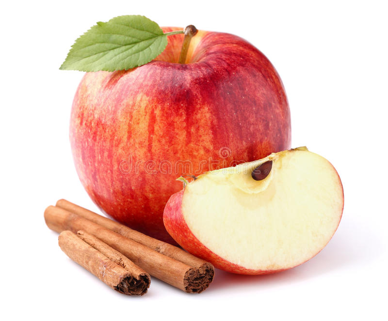 Apple with cinnamon royalty free stock images