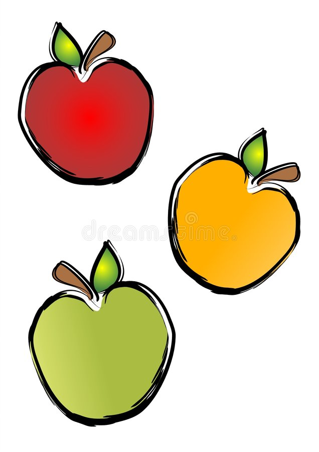 Apple Clip Art Illustrations. 3 apples illustration in red, yellow and green on an isolated white background royalty free illustration