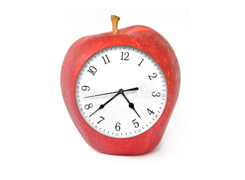 Apple Clock With Time Stock Photography