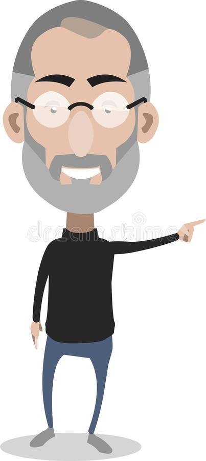 Steve Jobs pointing. Apple Co-founder caricature pointing during a presentation stock illustration