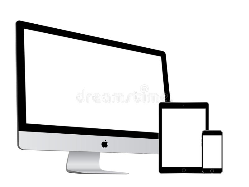 Apple collection. Apple imac and ipad air 2 and iphone 6 on white background