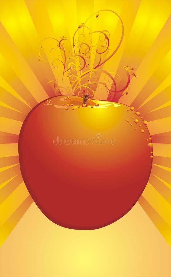 Apple com as gotas do orvalho na parte traseira decorativa ilustração do vetor