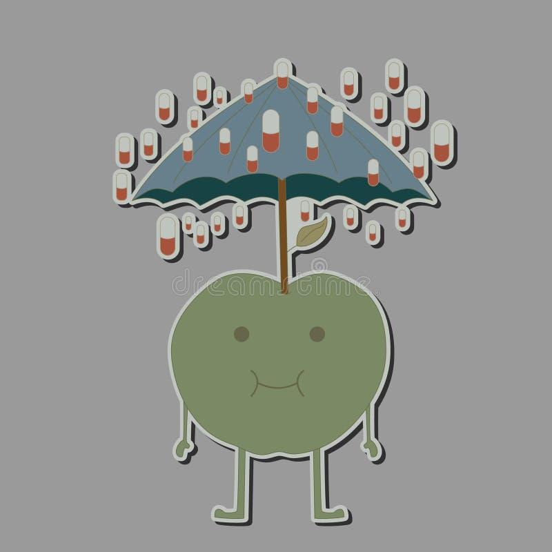 Apple com as tabuletas do guarda-chuva e da chuva ilustração do vetor