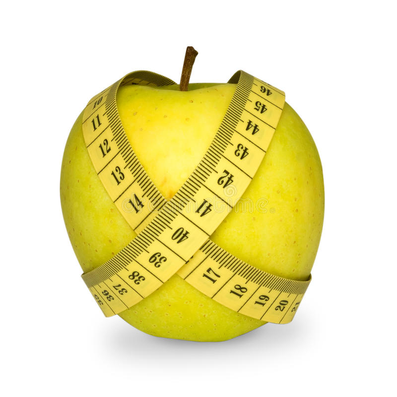Apple com fita métrica fotos de stock