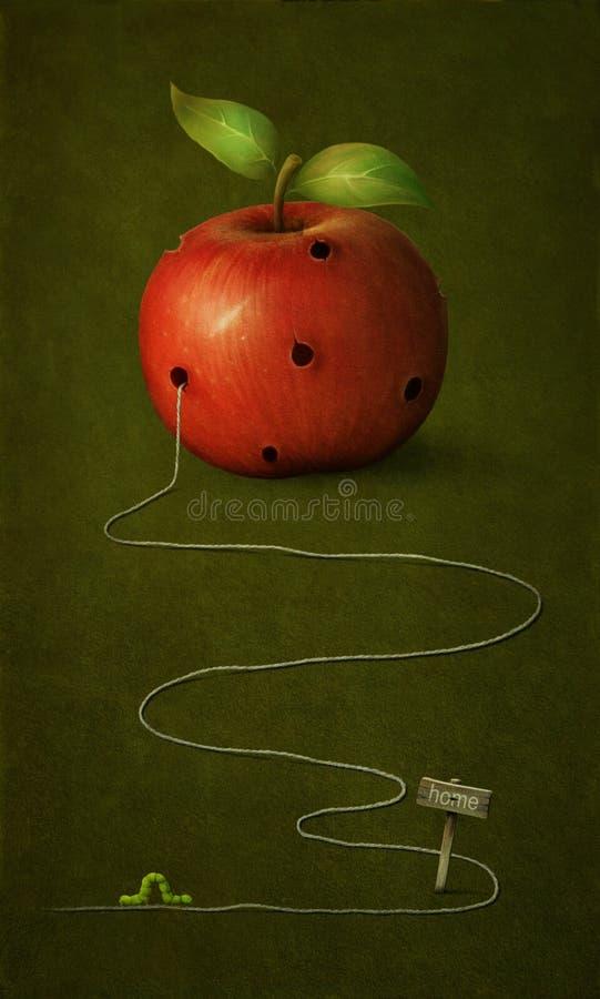 Apple com furos. ilustração royalty free