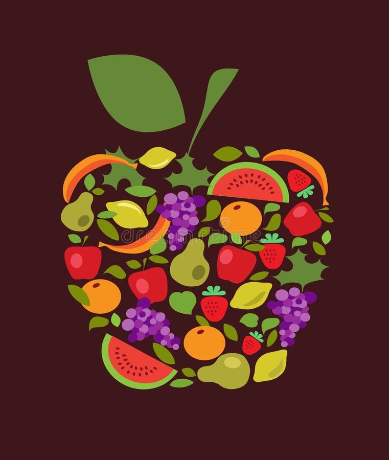 Apple com teste padrão das frutas e verdura ilustração stock