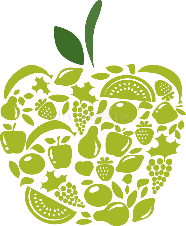 Apple com teste padrão das frutas e verdura no branco ilustração do vetor