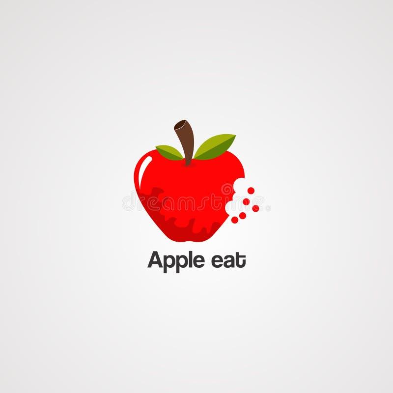 Apple come con vector, el icono, el elemento, y la plantilla del logotipo de la hoja de la naturaleza para la compañía stock de ilustración