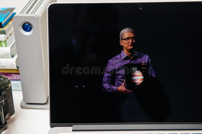 Apple Computers new iPad Pro, iPhone 6s, 6s Plus and Apple TV royalty free stock image