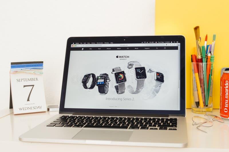 Apple Computers website showcasing the new Apple Watch Series 2. PARIS, FRANCE - SEP 8, 2016: Apple Computers website on MacBook Pro Retina in a geek creative stock image