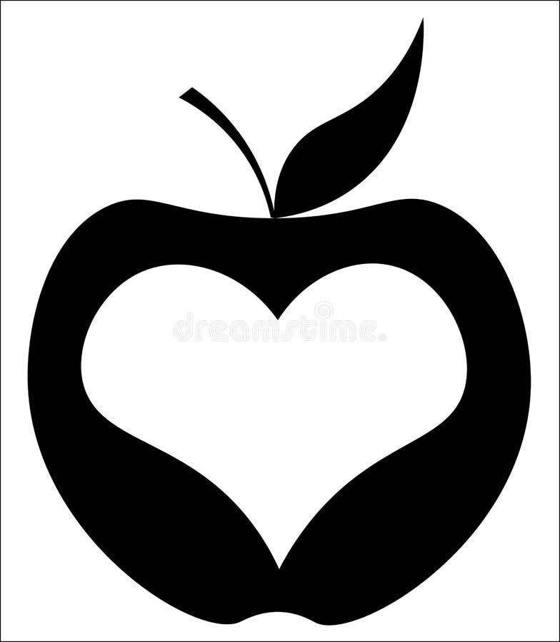 Apple con cuore nel centro, logo del minimalista di New York illustrazione vettoriale