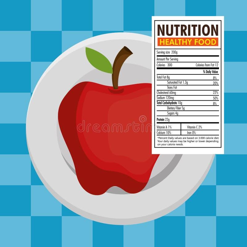 Apple con hechos de la nutrición ilustración del vector