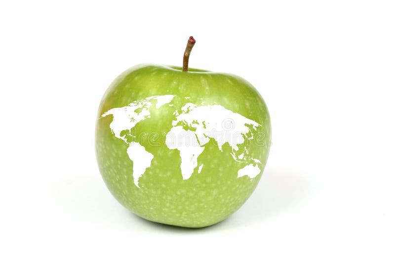 Apple con il programma di terra fotografie stock libere da diritti