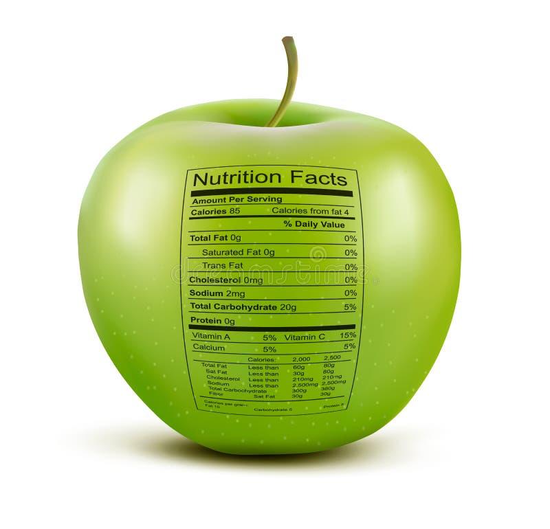 Apple con l'etichetta di fatti di nutrizione. illustrazione di stock