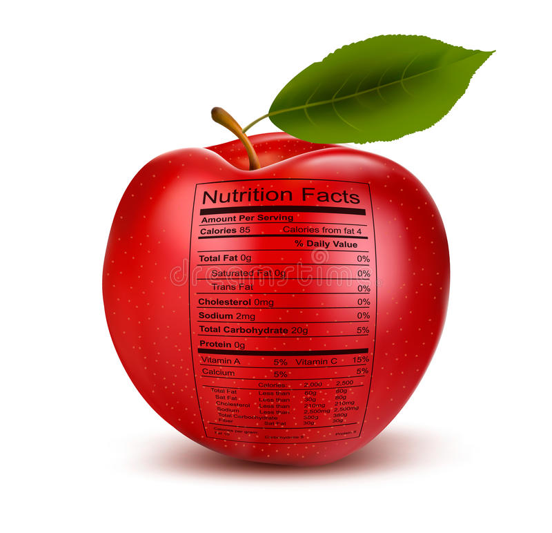 Apple con l'etichetta di fatti di nutrizione. Concetto di healt