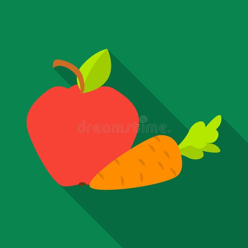 Apple con l'icona della carota nello stile piano isolata su fondo bianco Illustrazione di vettore delle azione di simbolo di cure illustrazione di stock