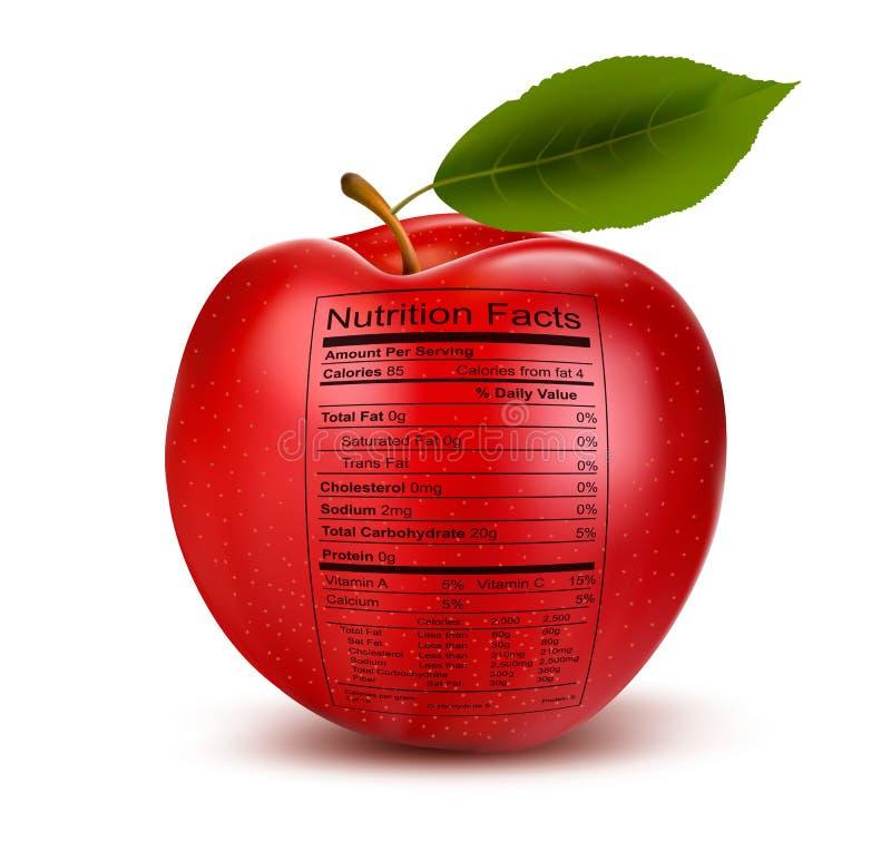Apple con la etiqueta de los hechos de la nutrición. Concepto de healt ilustración del vector