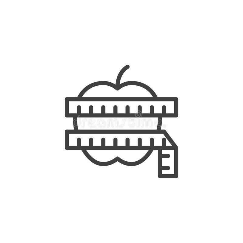 Apple con la línea icono de la cinta métrica ilustración del vector