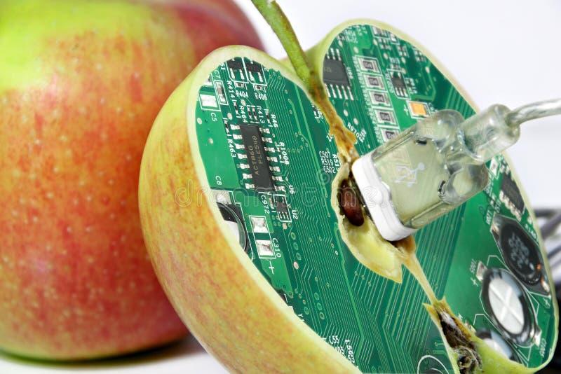 Apple con la memoria di tecnologia immagini stock