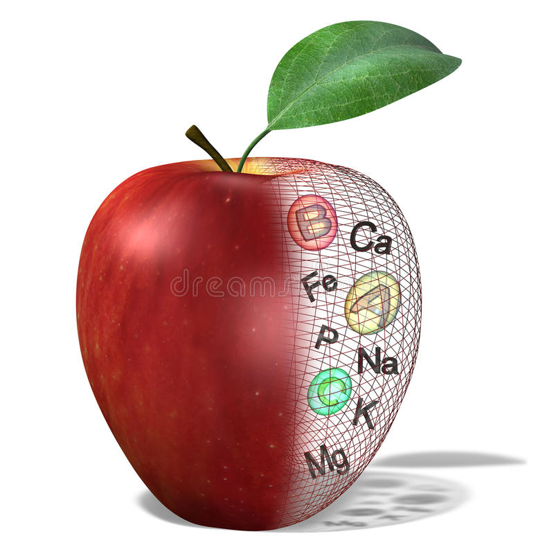 Apple con las vitaminas contenidas, minerales stock de ilustración