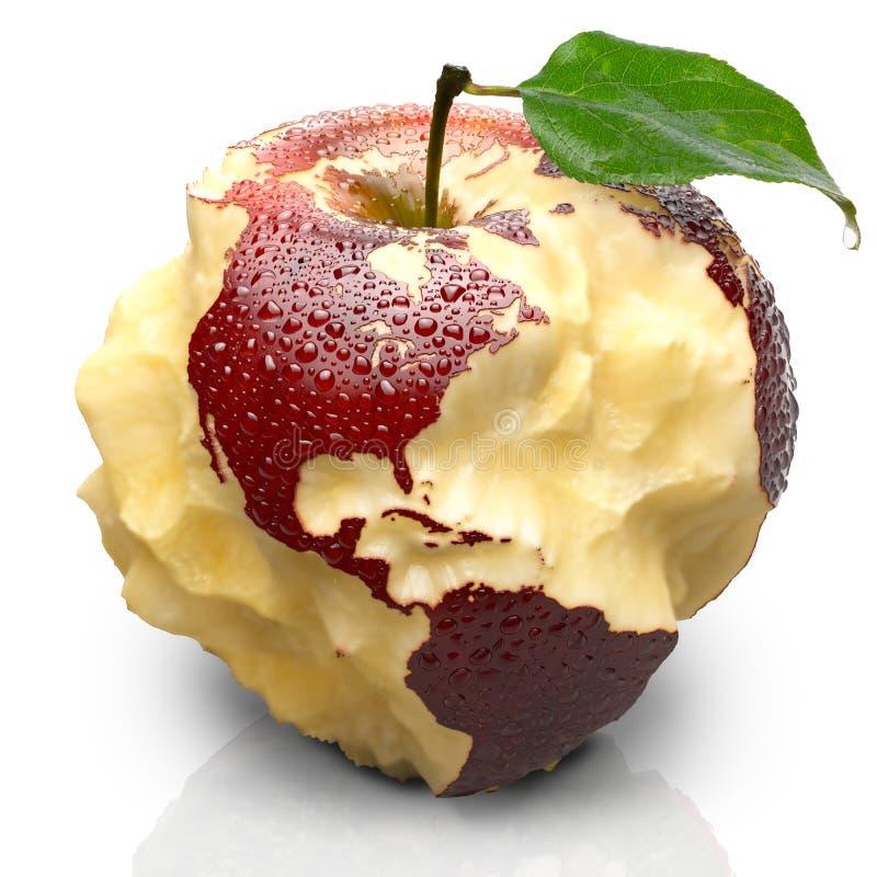 Apple con los continentes tallados. Norte y Suramérica ilustración del vector